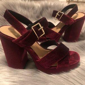 Maroon Velvet Platform Heels